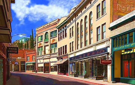 Old Bisbee in front of Belleza Gallery Fine Art