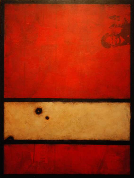 Red pigment in plaster on Panel
